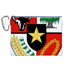 Shield Of National Emblem Of Indonesia Canvas Cosmetic Bag (xl) by abbeyz71