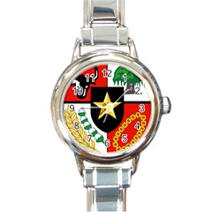 Shield Of National Emblem Of Indonesia  Round Italian Charm Watch by abbeyz71