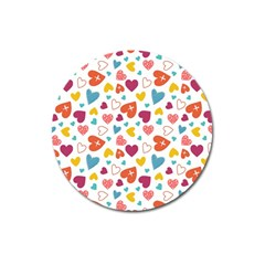 Colorful Bright Hearts Pattern Magnet 3  (round) by TastefulDesigns