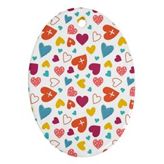 Colorful Bright Hearts Pattern Oval Ornament (two Sides) by TastefulDesigns