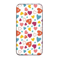 Colorful Bright Hearts Pattern Apple Iphone 4/4s Seamless Case (black) by TastefulDesigns