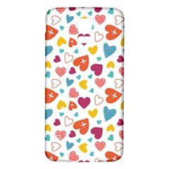Colorful Bright Hearts Pattern Samsung Galaxy S5 Back Case (white) by TastefulDesigns
