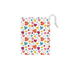 Colorful Bright Hearts Pattern Drawstring Pouches (xs)  by TastefulDesigns