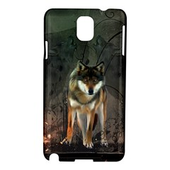 Awesome Wolf In The Night Samsung Galaxy Note 3 N9005 Hardshell Case by FantasyWorld7