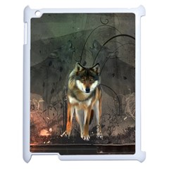 Awesome Wolf In The Night Apple Ipad 2 Case (white) by FantasyWorld7