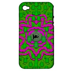 Vegetarian Art With Pasta And Fish Apple Iphone 4/4s Hardshell Case (pc+silicone) by pepitasart