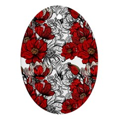Hand Drawn Red Flowers Pattern Oval Ornament (two Sides) by TastefulDesigns
