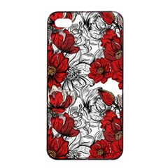Hand Drawn Red Flowers Pattern Apple Iphone 4/4s Seamless Case (black) by TastefulDesigns