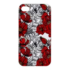 Hand Drawn Red Flowers Pattern Apple Iphone 4/4s Hardshell Case by TastefulDesigns