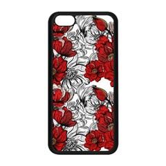 Hand Drawn Red Flowers Pattern Apple Iphone 5c Seamless Case (black) by TastefulDesigns