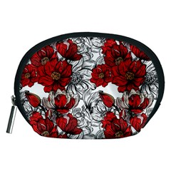 Hand Drawn Red Flowers Pattern Accessory Pouches (medium)  by TastefulDesigns