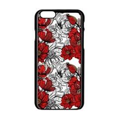 Hand Drawn Red Flowers Pattern Apple Iphone 6/6s Black Enamel Case by TastefulDesigns