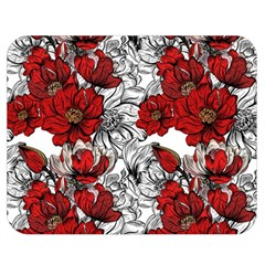Hand Drawn Red Flowers Pattern Double Sided Flano Blanket (medium)  by TastefulDesigns