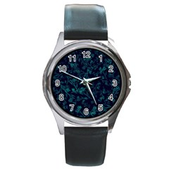 Leaf Pattern Round Metal Watch by berwies