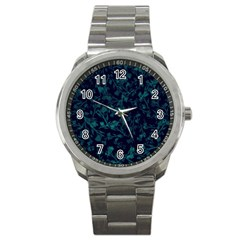 Leaf Pattern Sport Metal Watch by berwies