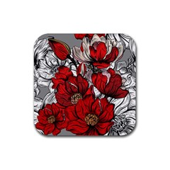 Red Flowers Pattern Rubber Square Coaster (4 Pack)  by TastefulDesigns