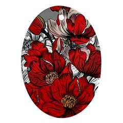 Red Flowers Pattern Oval Ornament (two Sides) by TastefulDesigns