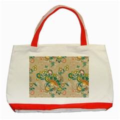 Hand Drawn Batik Floral Pattern Classic Tote Bag (red) by TastefulDesigns