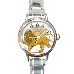 National Emblem Of Iran, Provisional Government Of Iran, 1979 1980 Round Italian Charm Watch by abbeyz71