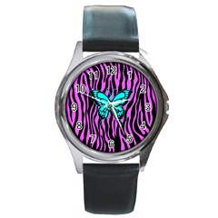 Zebra Stripes Black Pink   Butterfly Turquoise Round Metal Watch by EDDArt