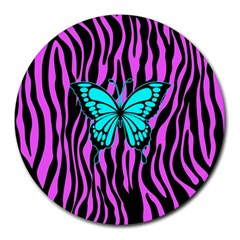 Zebra Stripes Black Pink   Butterfly Turquoise Round Mousepads by EDDArt