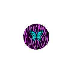Zebra Stripes Black Pink   Butterfly Turquoise 1  Mini Magnets by EDDArt