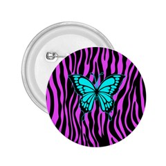 Zebra Stripes Black Pink   Butterfly Turquoise 2 25  Buttons by EDDArt