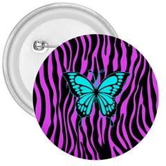 Zebra Stripes Black Pink   Butterfly Turquoise 3  Buttons by EDDArt