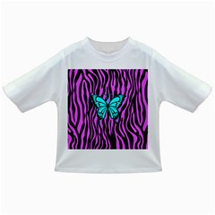 Zebra Stripes Black Pink   Butterfly Turquoise Infant/toddler T Shirts by EDDArt