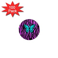 Zebra Stripes Black Pink   Butterfly Turquoise 1  Mini Magnets (100 Pack)  by EDDArt