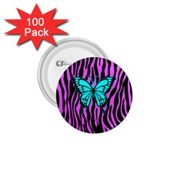 Zebra Stripes Black Pink   Butterfly Turquoise 1 75  Buttons (100 Pack)  by EDDArt