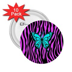 Zebra Stripes Black Pink   Butterfly Turquoise 2 25  Buttons (10 Pack)  by EDDArt