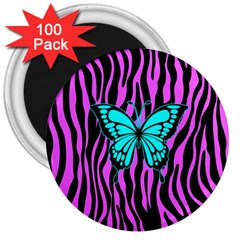 Zebra Stripes Black Pink   Butterfly Turquoise 3  Magnets (100 Pack) by EDDArt