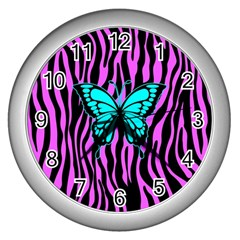 Zebra Stripes Black Pink   Butterfly Turquoise Wall Clocks (silver)  by EDDArt