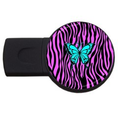 Zebra Stripes Black Pink   Butterfly Turquoise Usb Flash Drive Round (2 Gb) by EDDArt