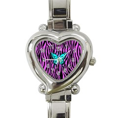 Zebra Stripes Black Pink   Butterfly Turquoise Heart Italian Charm Watch by EDDArt
