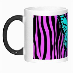 Zebra Stripes Black Pink   Butterfly Turquoise Morph Mugs by EDDArt