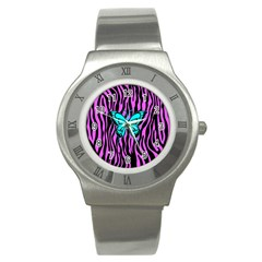 Zebra Stripes Black Pink   Butterfly Turquoise Stainless Steel Watch by EDDArt