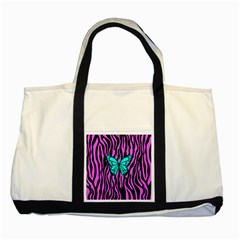 Zebra Stripes Black Pink   Butterfly Turquoise Two Tone Tote Bag by EDDArt