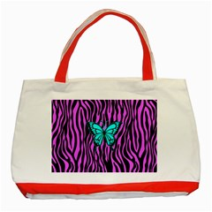 Zebra Stripes Black Pink   Butterfly Turquoise Classic Tote Bag (red) by EDDArt