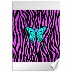 Zebra Stripes Black Pink   Butterfly Turquoise Canvas 12  X 18   by EDDArt