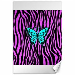Zebra Stripes Black Pink   Butterfly Turquoise Canvas 24  X 36  by EDDArt