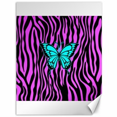 Zebra Stripes Black Pink   Butterfly Turquoise Canvas 36  X 48   by EDDArt