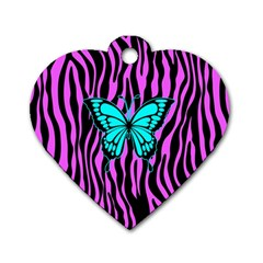 Zebra Stripes Black Pink   Butterfly Turquoise Dog Tag Heart (one Side) by EDDArt