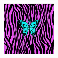 Zebra Stripes Black Pink   Butterfly Turquoise Medium Glasses Cloth (2 Side) by EDDArt