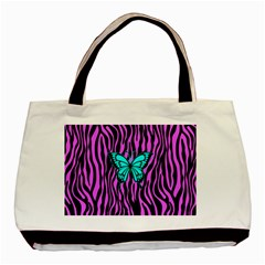 Zebra Stripes Black Pink   Butterfly Turquoise Basic Tote Bag (two Sides) by EDDArt