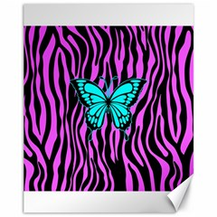 Zebra Stripes Black Pink   Butterfly Turquoise Canvas 11  X 14   by EDDArt