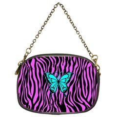 Zebra Stripes Black Pink   Butterfly Turquoise Chain Purses (one Side)  by EDDArt