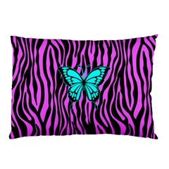 Zebra Stripes Black Pink   Butterfly Turquoise Pillow Case by EDDArt