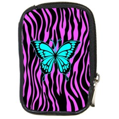 Zebra Stripes Black Pink   Butterfly Turquoise Compact Camera Cases by EDDArt